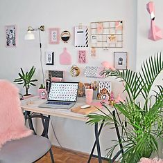 Pin by desk life bliss on workspace & desk inspiration in 20 Study Room Decor, Diy Room Decor, Bedroom Decor, Home Office Design, Home Office Decor, Home Decor, Office Ideas, Desk Ideas, Office Furniture