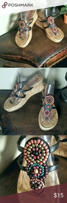 "Unionbay Beaded Wedge Sandals Beaded circles on upper with faux leather straps and 3"" wedge heel. Unionbay Shoes Wedges"