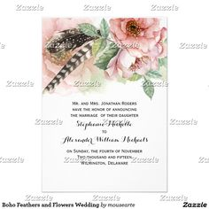 Boho Watercolor Feathers and Flowers Bridal Shower Paper Invitation Card Wedding Invitations Australia, Spring Wedding Invitations, Watercolor Wedding Invitations, Wedding Invitation Design, Bridal Shower Invitations, Invites, Flower Invitation, Invitation Paper, Watercolor Feather