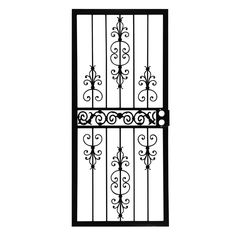 Grisham, 36 in. x 80 in. 409 Series Spanish Lace Steel Black Prehung Security Door, 40921 at The Home Depot - Tablet