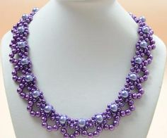 Free Purple Pearl Lace Necklace Pattern from PandaHall.com featured in Bead-Patterns.com Newsletter!