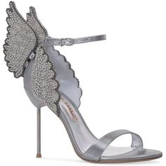 Sophia Webster Crystal Butterfly Evangeline Sandal (70,100 INR) ❤ liked on Polyvore featuring shoes, sandals, winged sandals, sophia webster sandals, crystal embellished shoes, butterfly sandals and laser cut shoes