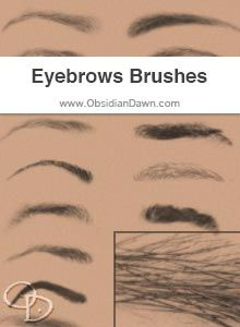 Obsidian Dawn Photoshop & GIMP Brushes - Eyebrows (Various eyebrows, both male and female. Includes tips on how to get them to fit to angled faces and make expressions!)