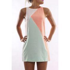Sweet Sleeveless Color Block Tank Top Dress For Women
