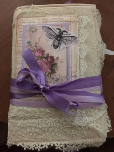Large journal Coffee dyed, full of lace, little journaling spaces threw out. Adorned with quilted cover and ribbon tie Journal Covers, Book Journal, Journal Inspiration, Creative Inspiration, Journal Ideas, Shabby Chic Journal, Junk Art, Specialty Paper, Antique Lace