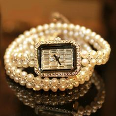 Luxury Jewelry Women Watch Freshwater Pearl Jew Band Rectangle Crystals Dial Face Bling Bling $25.00