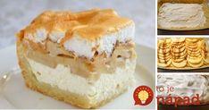 Tvarohový krém, smotanové cesto a sladučké jablká ukryté pod ľahkým snehom. Tomu sa hovorí dobrota! Vanilla Cake, Deserts, Recipes, Food, Basket, Recipies, Essen, Postres, Meals