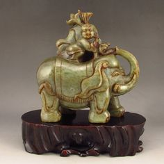 Hand Carved Chinese Natural Hetian Jade Statue - Elephant & Kid