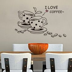 Removable Vinyl Wall Stickers Love coffee Home Decoration Wall Decals kitchen wall paper murals quote Coffee Cup Drawing, Wall Stickers Love, Table Led, Kitchen Wall Decals, I Love Coffee, Real Coffee, Coffee Lover Gifts, Coffee Lovers, Love Wall
