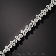 Platinum Diamond 'Bubble' Bracelet - Art Deco Jewelry - Vintage Jewelry