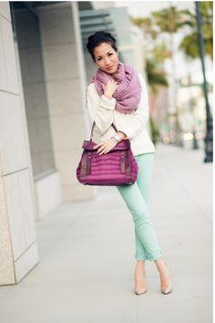 Cream sweater + mint green pants + purple scarf —Wendy's Lookbook