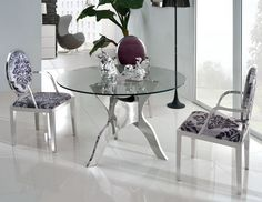 small round glass dining table dining room furniture:round glass dining table set round dining table ideas round QYDMYJV - Home Decor Ideas Glass Dining Room Sets, Glass Dining Table Designs, Glass Round Dining Table, Round Glass, Glass Tables, Round Tables, Dining Decor, Dining Table Chairs, Kitchen Tables