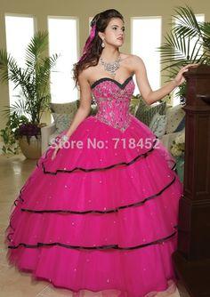 Cheap Quinceanera Dresses Fushia Organza Embroidery Beading Sweet 16 Party Masquerade Ball Gown Fashion New QA32