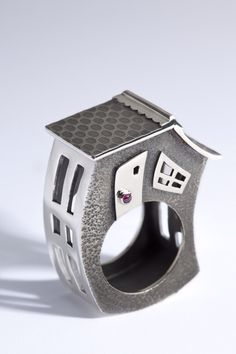 Ring   Marie-Eve Martin. Sterling silver and garnet (house ring, silver, white…