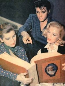 ♡♥Elvis 22 looks at a big book with Dolores Hart 'Loving You' 1957♥♡