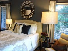 Gray walls create a soothing, neutral backdrop for metallic accents and creamy fabrics.