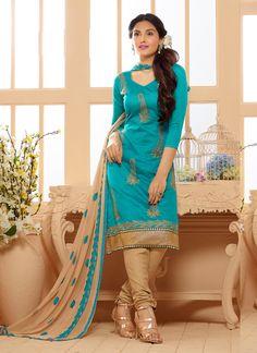 Blue Wholesale Chanderi Salwar Kameez Specially For Festival