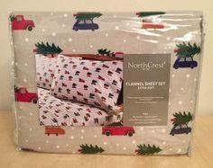 EXTRA SOFT FLANNEL SHEET SET FULL NORTHCREST RED TRUCK CHRISTMAS TREE #NorthCrest