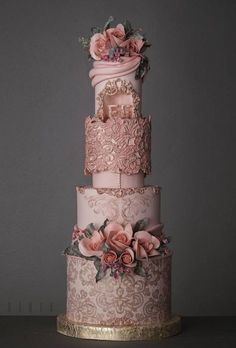 Dusty pink wedding cake