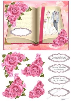 - An open book with a bride and grooms clothes on one page. Pink roses in two corners to decoupage. Happy Anniversary, Wedding Anniversary, Printable Crafts, Quick Cards, Open Book, Card Designs, Grooms, Watercolor Flowers, Pink Roses