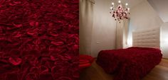 romantic bedroom design with red bedspread like a rose and white headboard also chandelier light