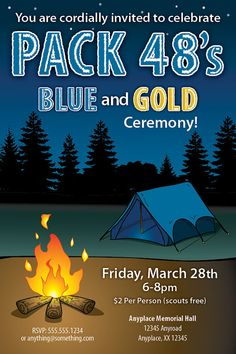 Boy Scouts Blue and Gold Ceremony Invite  DIY by CiciandBobos, $11.99