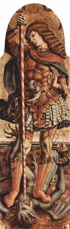 CRIVELLI, Carlo Altarpolyptychon von San Martino in Monte San Martino, rechte innere Aufsatztafel: Hl. Rochus Date Deutsch: um 1480