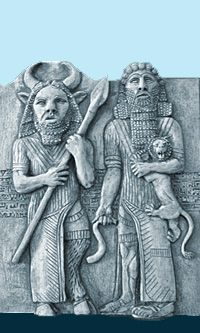 Enkidu and Gilgamesh...look closely at Enkidu - he's a faun, perhaps the ancient god Pan? In my studies of world cultures, I've found a representative of Pan in each and every culture around the world, even India. What does it mean? Pan was the god of nature...a great protector.