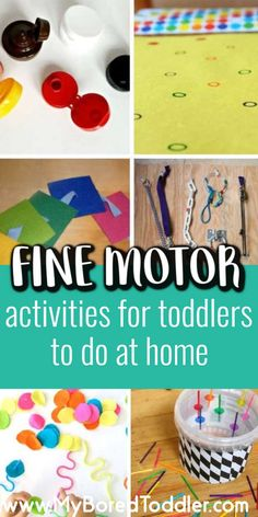 Fine motor activity ideas for toddlers to do at home - perfect for one year olds two year olds and three year olds - easy and fun toddler activity ideas Fine Motor Activities For Kids, Motor Skills Activities, Toddler Learning Activities, Infant Activities, Fun Learning, Preschool Activities, Dementia Activities, Kindergarten Worksheets, Physical Activities