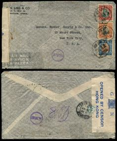 CHINA-10-5-1941-RARE-WWII-AV2-x-2-CENSORED-AIRMAIL-COVER-8-rate-SWATOW-HK-USA