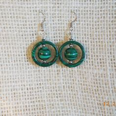 Green Malachite Hoop and Ball earrings item by LamplightGifts, $6.00