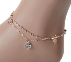 NEW 2015  Sexy Crystal Double Layer Gold Ankle Chain Anklet Bracelet Beach free shipping #anklets