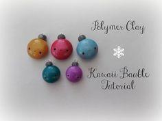 Kawaii Christmas Bauble polymer clay charm tutorial