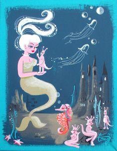 Pin Up Mermaid, Mermaid Board, Mermaid Sign, Mermaid Fairy, Illustration Arte, Illustrations, Retro Art, Retro Vintage, Vintage Ideas