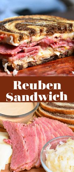 Reuben Sandwich is a perfect combination of warm corned beef, melted Swiss cheese, sauerkraut, Thousand Island dressing, and crunchy rye bread. Thousand Island Dressing, Reuben Sandwich, Rye Bread, Swiss Cheese, Corned Beef, Sauerkraut, Sandwiches, Lunch, Warm