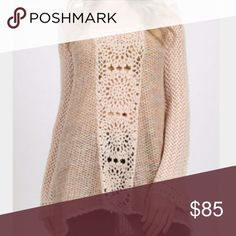 Free People The Merci Pullover in Sandstone Knit sweater with contrast panels of open knit at center and on sleeves;  Hood; Crochet trim; 59% Acrylic, 25% wool, 10% nylon, 3% alpaca, 3% cotton.  By free people. Free People Sweaters Cardigans