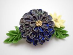 Floral hair comb Colorful flower Blue Yellow by JagataraArt #blue #yellow…