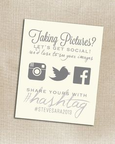 Remind guests to utilize your wedding hashtag! + 15 Table Card Ideas for Every Bride