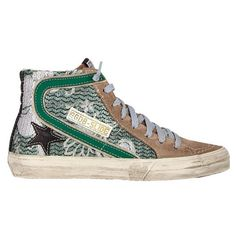 buy online efb4a 06e0f Golden Goose slide sneakers Colorful Sneakers, Green Sneakers, Green Flats,  Leather Sneakers,