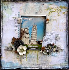 "Michelle Grant: Australian Scrapbook Ideas - Issue 18 - Tried & Tested Mix'd Media Inx ""Leaning Tower of Pisa"", Jan.2013"