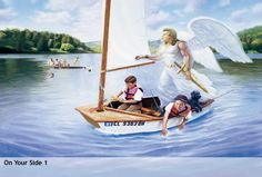 On your side boat. Company of Angels features a series of seven original paintings by Frank Ordaz, designed to comfort children. They portray Christian guardian angels as powerful, yet tender beings, just as they appear in the Bible. Angel Illustration, Angels In Heaven, Heavenly Angels, Angel Pictures, Blue Angels, Guardian Angels, God Loves Me, Bible Art, Catholic