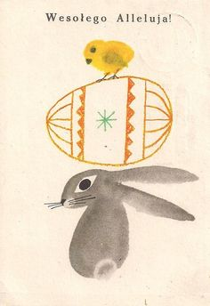 Illustration by Janusz Stanny. Polish Easter, Easter Art, Children's Book Illustration, Easter Illustration, Vintage Easter, Collages, Childrens Books, Poster, Drawings
