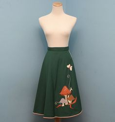 Vintage Woodlands Dark Green Wrap Skirt with by RaraeAves on Etsy