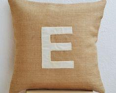 Handcrafted Customized Ivory Velvet Monogram Throw Pillows in Burlap