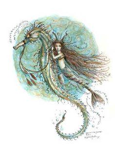 Mermaid n seahorse Magical Creatures, Fantasy Creatures, Sea Creatures, Mermaid Fairy, Mermaid Tale, Sirens, Arte Sketchbook, Mermaids And Mermen, Merfolk