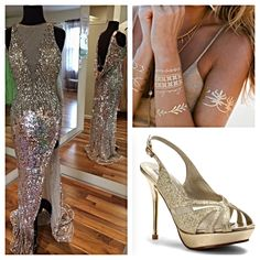Get the Look! All available @idealfashions! #macduggal #prom2015 #sequinsonsequins #metallictattoos #shoes #dress #prom2k15 #idealfashions #glam