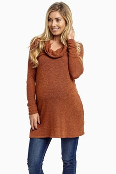 Rust-Cowl-Neck-Knit-Maternity-Sweater-Top