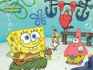 Spongebob, Patrick, Larry, and 2 other fish are at the beach