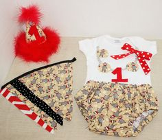 Rylo Sock Monkey cake smash outfit with party hat and banner girls by RYLOwear, $12.00+