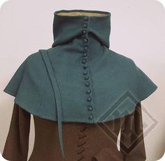 Women's Warm Woolen Sea Blue Buttoned Hood